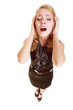 Empresaria con dolor de la cabeza del dolor de cabeza que grita Fotografía de archivo libre de regalías