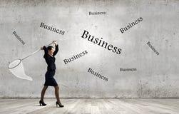 Empresaria con el aro Foto de archivo libre de regalías