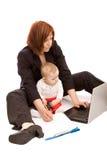 Empresaria con el bebé Fotografía de archivo