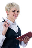 Empresaria con el cuaderno Imagen de archivo