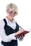 Empresaria con el cuaderno Foto de archivo libre de regalías