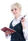 Empresaria con el cuaderno Imágenes de archivo libres de regalías