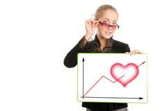 Empresaria con el diagrama del día de tarjeta del día de San Valentín Fotos de archivo