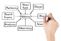 Empresaria con el diagrama del Web site Imagenes de archivo