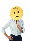 Empresaria con el emoticon foto de archivo libre de regalías