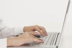Empresaria con el ordenador Foto de archivo libre de regalías