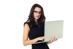 Empresaria con el ordenador portátil Fotografía de archivo libre de regalías