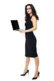 Empresaria con el ordenador portátil Fotos de archivo