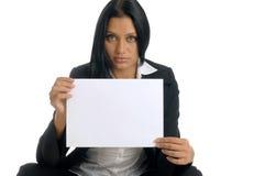 Empresaria con el papel limpio Foto de archivo