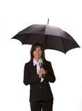 Empresaria con el paraguas Imagen de archivo