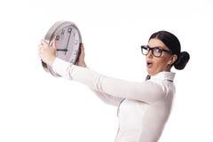 Empresaria con el reloj imágenes de archivo libres de regalías