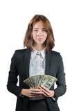 Empresaria con el taco del dinero en sus manos Fotografía de archivo libre de regalías