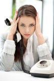 Empresaria con el teléfono Fotografía de archivo
