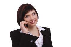 Empresaria con el teléfono móvil Fotografía de archivo libre de regalías