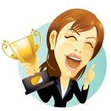 Empresaria con el trofeo Imagen de archivo libre de regalías