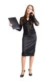 Empresaria con la caja del teléfono móvil y del documento imagen de archivo libre de regalías