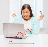 Empresaria con la computadora portátil y de la tarjeta de crédito Imágenes de archivo libres de regalías