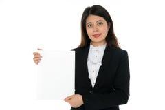 Empresaria con la muestra en blanco Imágenes de archivo libres de regalías