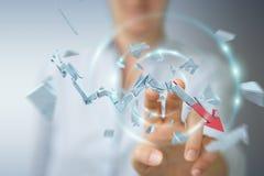 Empresaria con la representación quebrada de la flecha 3D de la crisis Fotografía de archivo