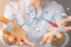 Empresaria con la representación quebrada de la flecha 3D de la crisis Imagen de archivo