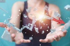 Empresaria con la representación quebrada de la flecha 3D de la crisis Foto de archivo libre de regalías