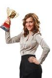 Empresaria con la taza de oro Foto de archivo libre de regalías