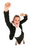 Empresaria con los brazos levantados Imagen de archivo