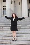 Empresaria con los brazos outstretched Fotos de archivo