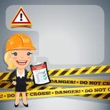 Empresaria With Danger Tapes Foto de archivo libre de regalías