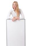 Empresaria de la mujer con el tablero en blanco Foto de archivo libre de regalías