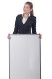 Empresaria de la mujer con el tablero en blanco Imagen de archivo