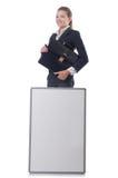 Empresaria de la mujer con el tablero en blanco Fotos de archivo