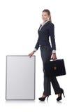 Empresaria de la mujer con el tablero en blanco Imágenes de archivo libres de regalías