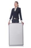 Empresaria de la mujer con el tablero en blanco Fotografía de archivo libre de regalías