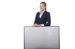 Empresaria de la mujer con el tablero en blanco Fotografía de archivo