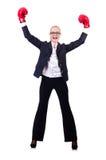 Empresaria de la mujer con los guantes de boxeo Foto de archivo libre de regalías