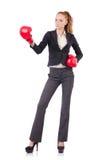 Empresaria de la mujer con los guantes de boxeo Fotografía de archivo libre de regalías