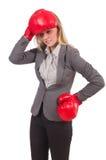Empresaria de la mujer con los guantes de boxeo Imagen de archivo