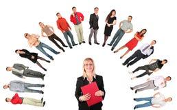 Empresaria de mediana edad con la carpeta roja Imagenes de archivo