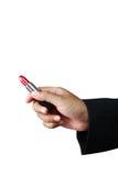 Empresaria disponible del lápiz labial rojo. Foto de archivo