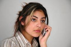 Empresaria en el phone-9 Imágenes de archivo libres de regalías