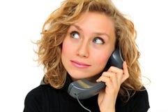 Empresaria en el teléfono imagenes de archivo