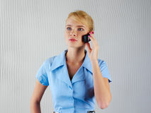 Empresaria en el teléfono Imagen de archivo libre de regalías