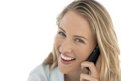 Empresaria en el teléfono en el lugar de trabajo Foto de archivo