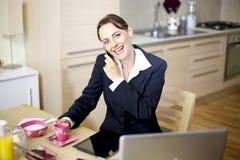 Empresaria en el teléfono en el país Fotografía de archivo libre de regalías