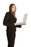 Empresaria en la computadora portátil fotografía de archivo
