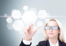 Empresaria en los vidrios 3D Imagen de archivo libre de regalías