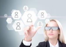 Empresaria en los vidrios 3D Fotos de archivo