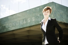 Empresaria en tapa Fotografía de archivo libre de regalías