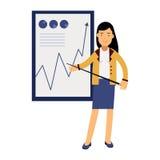 Empresaria en un traje elegante que señala en un whiteboard con el gráfico en una presentación, ejemplo del crecimiento libre illustration
